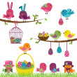 Stock Vector: Vector Set of Easter Birds