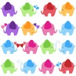 Vector Collection of Colorful Elephants — Stock Vector