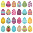 Large Vector Set of Easter Eggs — Stock Vector