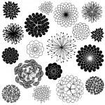 çiçek siluetleri vektör toplama — Stok Vektör