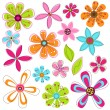 Vector Set of Mod or Retro Flower and Leaves - Stock Vector