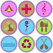 Girl Themed Merit Badges — Stock Vector