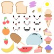 Vector Kawaii Food Set  — Stock Vector