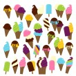 Large Vector Set of Ice Cream and Ice Cream Cones - Stock Vector