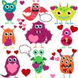 Vector Set of Cute Love Monsters — Stock Vector