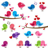 Vector Collection of Cute Love Birds — Stock Vector