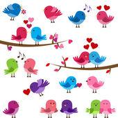 矢量集合的可爱爱情鸟 — 图库矢量图片