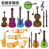 Vector Collection of Musical Instruments — Stock Vector