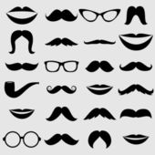 Mustaches and other Accessories Vector Set — Stock Vector