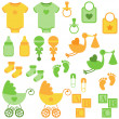 Vector Set of Neutral Colored Baby Items and Symbols — Stock Vector