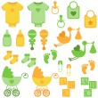 Stock Vector: Vector Set of Neutral Colored Baby Items and Symbols