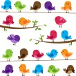 Vector Set of Colorful Cartoon Birds - Stock Vector