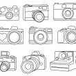 Hand Drawn Set of Vector Cameras — Stockvectorbeeld