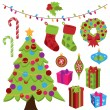 Collection of Cute Christmas Items — Stock Vector