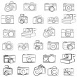 Hand Drawn Set of Vector Cameras — Stock Vector