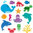 Vector Set of Cute Sea Creatures — Stock Vector #24686195