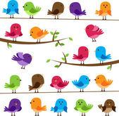 Vector Set of Colorful Cartoon Birds — Vetor de Stock