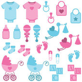 Vector Set of Boy and Girl Themed Baby Images — Stock Vector