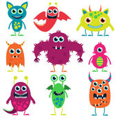 Vector Collection of Cute Monsters — Stock Vector