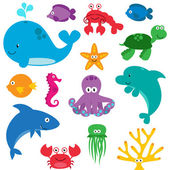 Vector Set of Cute Sea Creatures — Stock Vector