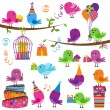 Vector Set of Cute Party Themed Birds - Stock Vector