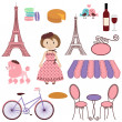 Stock Vector: Vector Set of Cartoon Paris and France Images