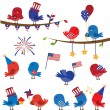 Set of Patriotic Fourth of July Themed Cartoon Birds — Stock Vector #24738019
