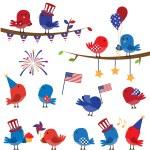 Set of Patriotic Fourth of July Themed Cartoon Birds — Stock Vector