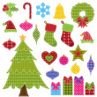 Vector Set of Patchwork Christmas Elements — Stock Vector