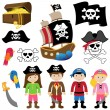 EPS10 Vector Illustration of Pirates — Stock Vector