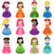 Vector Collection of Pretty Princesses - Stock Vector