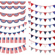 Vector Set of Patriotic Bunting - Stock Vector
