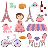 Vector Set of Cartoon Paris and France Images — Stock Vector
