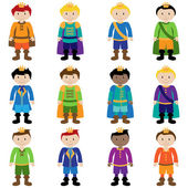 Vector Set of Cute Cartoon Princes — Stock Vector