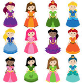 Vector Collection of Pretty Princesses — Stock Vector