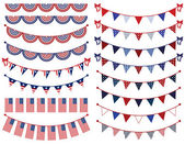 Vector Set of Patriotic Bunting — Stock Vector