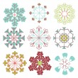 Vector Set of Mod Snowflakes — Stock Vector