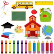 Vector Collection of School Supplies and Images — Stock Vector