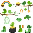 Vector Set of St Patrick's Day Themed Birds — Stock Vector