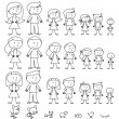 Large Set of Stick Figure and Pets — Image vectorielle