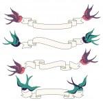 svalor som flyger med banners vektor set — Stockvektor