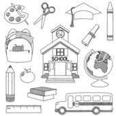Vector Set of Hand Drawn Doodle School Vectors — Stock Vector