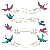 Swallows Flying with Banners Vector Set — Stock Vector