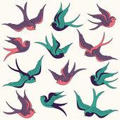 Vector Collection of Swallows — Stock Vector