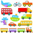 Cartoon Vector Transportation Set — Stock Vector
