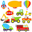 Cute Vector Transportation and Construction Set — Stock Vector