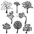 Vector Set of Tree Silhouettes - Grafika wektorowa