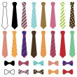 Set of Vector Ties and Bow Ties - Stock Vector
