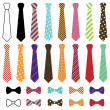 Set of Vector Ties and Bow Ties — Stock Vector