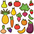 Vector Set of Cartoon Fruits and Vegetables — Stock Vector